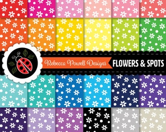 Flowers Floral Spots Pattern Digital Paper Set Rainbow Colours & White-Scrapbook,Craft Use,Digital Backgrounds-Personal and Commercial Use