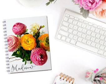 Bright Ranunculus Personalized Monogram Planner Cover Erin Condren Life Planner Recollections A5 Personal Pocket Dashboard Happy Planner B6