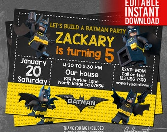 Lego Batman Invitations, Lego Batman Invites, Lego Batman Birthday Party, Lego Batman Thank You Tag Free, Editable PDF, Instant Download