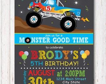 Monster Truck Invitation, Monster truck invite, monster truck birthday, monster truck party, Printable
