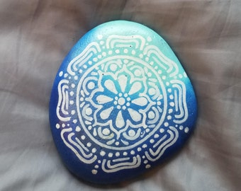 Blue Gradient Mandala Painted Stone