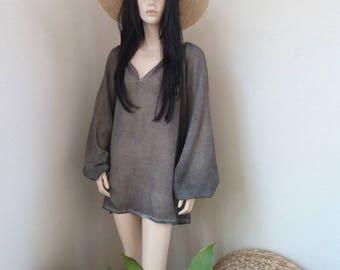 ALINE tunic - Cotton Voile - one size - Beach - Bohemian - Boho - Hippie - Ibiza - Gypsy - Beach dress - grey - Beachwear - Zen
