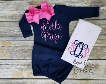 Baby Girl Coming Home Outfit, Newborn Girl Outfit, Baby Girl Going Home, Infant Gown, Newborn Gown,  Newborn Hospital Outfit, Newborn Photo