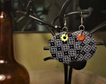 Retro Upcycled Fabric Earrings