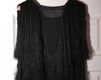 RARE 1930's Heavily Fringed Flapper Black Dress