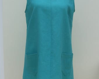 Linen tunic v neck sleeveless 100% pure linen, jade green, teal, pink, purple, red, white, black, navy, pale blue, yellow