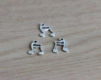 Music double note charms - Antique silver - 19 x 11 mm - 4 pcs