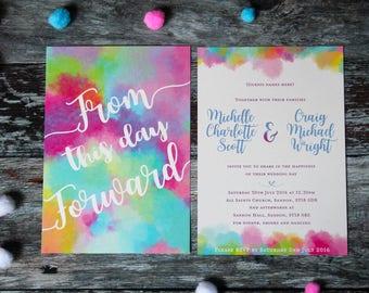 Colourful wedding invitation, rainbow wedding invite, bright wedding invite, colourful wedding stationery suite, watercolour wedding