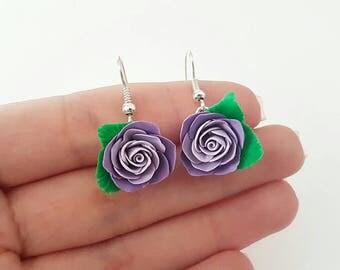 Polymerclay Purple rose earrings/pink purple Earrings Clay Dampproof