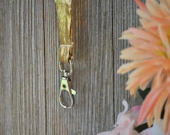 Gold Metallic Lanyard, Id Badge, key Holder