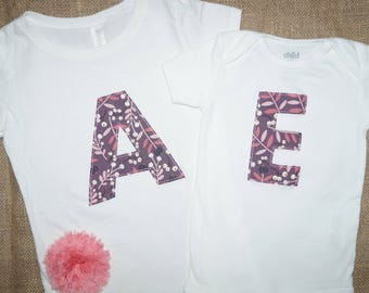 Girl's Floral Initial Shirt or Bodysuit - Puple and Pink - Monogram