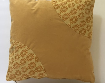 Golden Yellow pillow cover sunflower print with light yellow- tan combination, print on two corners,  Upholstery fabric/  Polyester  20x20