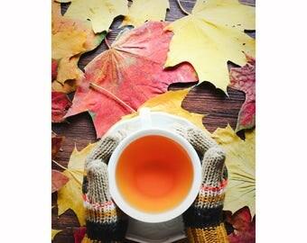 Autumn photo, autumn leaves photo, fall leaves photo, cup of tea photo, hands holding a cup, autumn photo art, autumn photo decor
