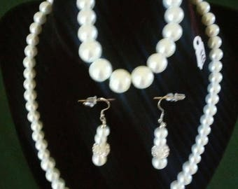 Faux pearl and silver jewelry set