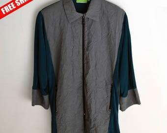 Vintage shirt with shoulder pads 90s shirt Vintage jacket Vintage jacket men 90s jacket Vintage jumper Gray jacket L Vintage windbreaker 90s