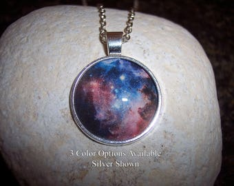 Cosmos Pendant Necklace - Nebula Galaxy - Available in Silver, Black or Antique Bronze with Premium Matching Chain