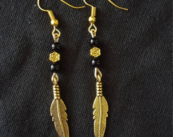 Gold Feather Rose Dangling Earrings