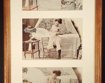 "REPRINT - Set of Three Hand-tinted 5"" x 7"" Photographs dating from c.1870, Young Woman Undressing for Bed, matted and framed"