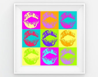 Multi-Colored Lips • Instant download print • Poster • Square Print (10x10 / 8x8, etc) • Kiss • Andy Warhol Inspired • Pop Art