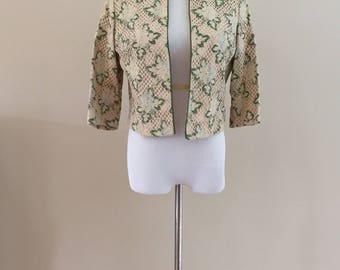 1960s Vintage Cream Cotton Lace Box Jacket With Reembroidered Pastel Flowers/Green Leaves