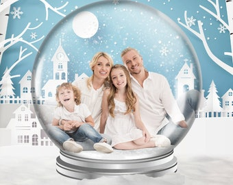 Winter Snow Globe Digital Backdrop, Christmas Digital Background,  Family Digital Backdrop, Family Photo Backdrop, Christmas Photo Props