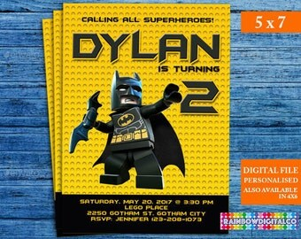 Lego Batman Invitation, Lego Batman Birthday, Lego Batman Party, Lego Batman Movie Invite, Lego Printables Invitations, Batman Invites