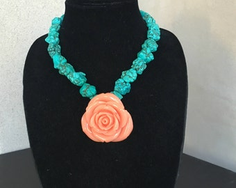 Turquoise Necklace with Rose Pendant by Dobka