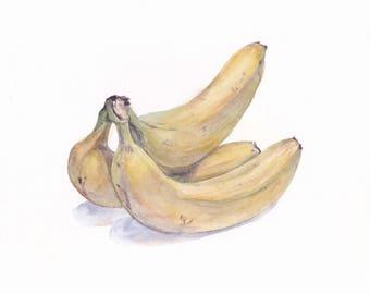 Original watercolor / Bananas / Botanical watercolour / Banana decor / Birthday gift / Bananas on white background / Gift for mom