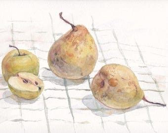 Original watercolor still life with pears and apple on checkered draping / Breakfast / Chinese pear / Creamy pear / Food art / Apple cut