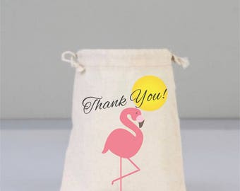 Flamingo Bags, Thank You Bags, Drawstring Mini Favor Bags, Beach Wedding, Wedding Gifts, Bridal Shower Gifts, Cotton Bag, Welcome Bags