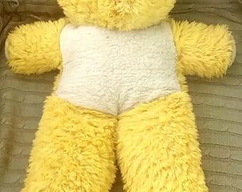 Vintage 1960,s Yellow and White Large Plush English Teddy Bear