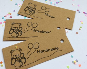 Teddy printed tags - handmade tags -pack of 10 -  manilla card gift tags - brown tags - printed tags -unstrung tags -gift cards -name cards