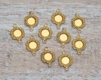 Gold Flower Connectors 12mm, Flower Connector, Earring Connectors 20pcs