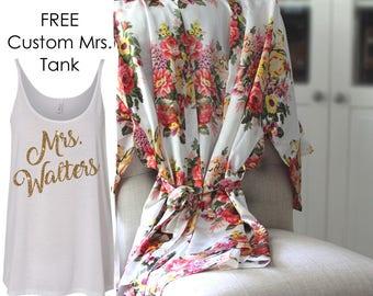 Floral Bridesmaid robes - Luxury Satin Robes bridesmaid gift - gift for bridesmaids - silk bridesmaid robes - kimono - Bridesmaid Gift