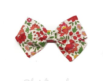Barrette girl or LIBERTY red flowers baby headband
