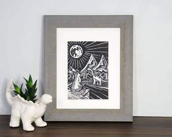 The Land Before Cats - Woodcut featuring a Cat Exploring Prehistoric times with Long Neck Dinosaurs! Woodblock Print by DinoCat Studio