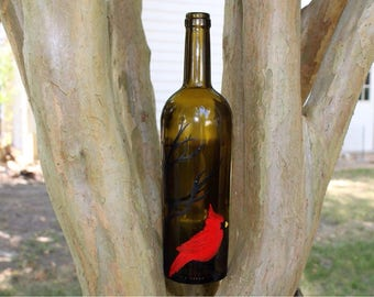 Red Cardinal Hand Painted Recycled Wine Bottle Art