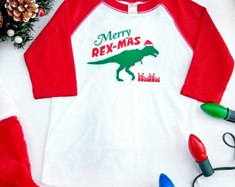 Merry Rex-mas Shirt, Kids funny Christmas Shirt, Toddler Christmas Raglan, Dinosaur Chirstmas Shirt, Dinosaur Baseball Tee, Kids Holiday Tee