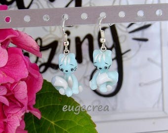 Blue cats with polymer clay earrings