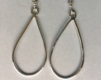 Large teardrop earrings sterling silver
