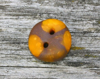 Set of 6 Round buttons brown with orange dotted in Fimo clay / Button in Fimo clay
