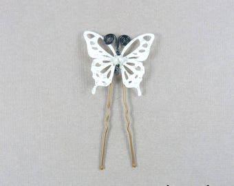 peak bun black and White Butterfly bead
