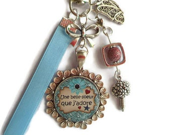 """Bag charm, Keychain / sister / """"sister-in-law love / Wonderland faby/party/birthday"""""""