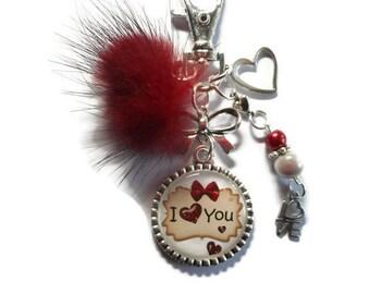 "Keychain bag charm / ""I love you"" / gift faby Wonderland"