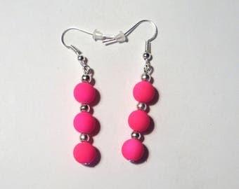 Dangle earrings neon pink acrylic bead