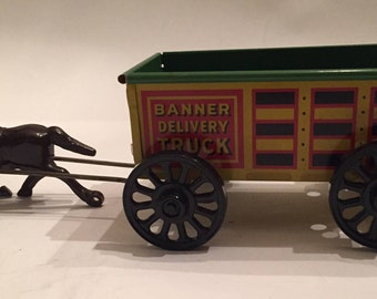 Unusual Banner Tin Delivery Truck Pulled by Plastic Brown Horse