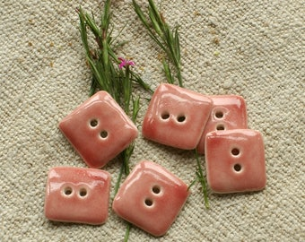 set of 6 shiny pink rectangle porcelain buttons