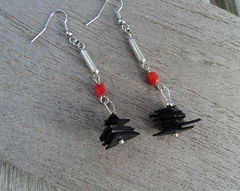 Dangling earrings in inner tube recycled orange bead and metal - fancy earrings - lightweight earrings wire