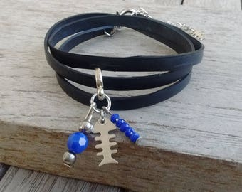 Charm bracelet made with recycled tractor inner charm fish and blue chandelier - type Cuff Bracelet - vegan leather strap