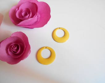 x 4 sequins enamelled yellow 18 mm